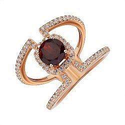Кольцо из красного золота с гранатом и фианитами 000141239