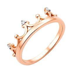 Кольцо-корона из красного золота с фианитами 000119392