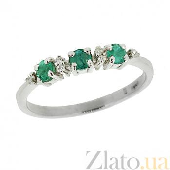Серебряное кольцо с бриллиантами и изумрудами Сандра ZMX--RDE-6658-Ag_K