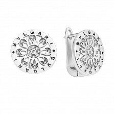 Серебряные серьги Ажурный цветочек в круге с фианитами в стиле Булгари