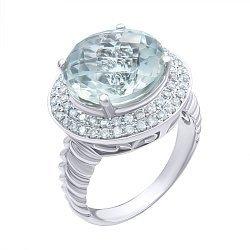 Кольцо из белого золота с зеленым аметистом и бриллиантами 000139332