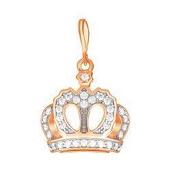 Серебряный кулон-корона с фианитами и позолотой 000034074