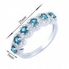 Серебряное кольцо Мирра с синтезированным топазом лондон