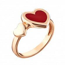 Кольцо в красном золоте Единение сердец с красной эмалью