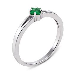 Кольцо из белого золота с изумрудом 000137308