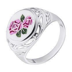 Серебряное кольцо с разноцветной эмалью 000080054