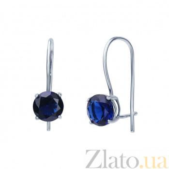 Серьги серебряные с синим куб. цирконием Сказка AQA--220530083/7S