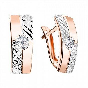 Золотые серьги прямоугольной формы с фактурной и гладкой поверхностью и фианитами 000117435