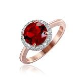 Позолоченное серебряное кольцо Рашель с рубиновым фианитом