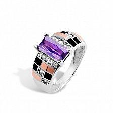 Серебряное кольцо Ираида с золотыми накладками, фиолетовым и белыми фианитами, черной эмалью