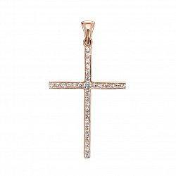 Декоративный крестик из красного золота с кристаллами Swarovski 000132793