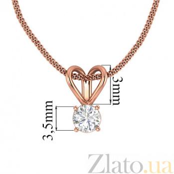 Кулон из красного золота с бриллиантом Княжна 000031120