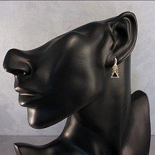 Золотые сережки Треугольная елка с черными агатами