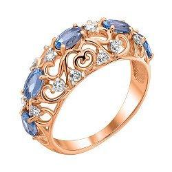 Кольцо из красного золота с топазами, фианитами и родированными крапанами 000122331