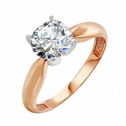 Кольцо из красного золота Патриция с камнем Swarovski
