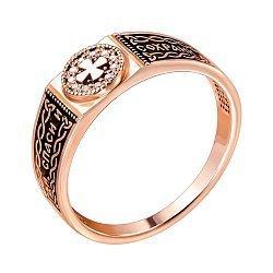 Перстень-печатка из красного золота с бриллиантами 000140081