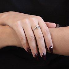 Серебряное кольцо с Трейси фантазийной шинкой, фиолетовым и белыми фианитами
