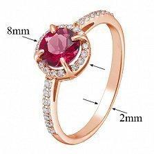 Золотое кольцо Камилла с гидротермальным рубином и фианитами