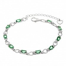 Серебряный браслет Heaven с зеленым кварцем и фианитами