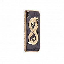 Apple IPhone XS MAX Noblesse DRAGON Exotic edition в черной коже крокодила и изображением дракона