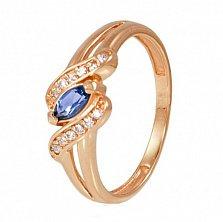 Золотое кольцо Офелия с иолитом и фианитами
