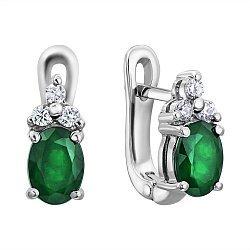 Серебряные серьги с зеленым цирконием Swarovski и белыми фианитами 000103099