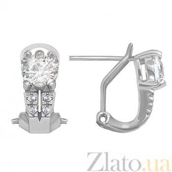 Серебряные серьги Венера с фианитами 10030029