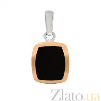Серебряная подвеска с ониксом и золотой вставкой Селинда 000024284