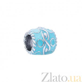Серебряная бусина с эмалью Барвинок AQA--135510005/1B