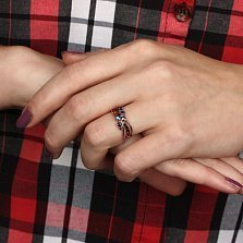Кольцо из красного золота с сапфирами и бриллиантами Парижанка