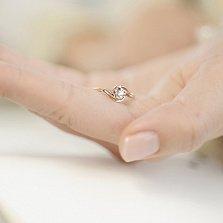 Золотое кольцо Счастливая жизнь в красном цвете с бриллиантом 0,18ct