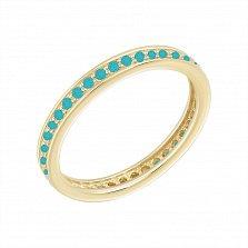 Кольцо в желтом золоте Саманта с имитацией бирюзы