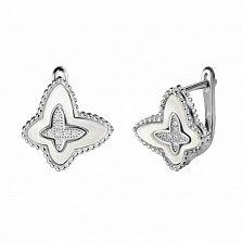 Серебряные серьги Ажурные бабочки с белыми перламутром и фианитами в стиле Ван Клиф