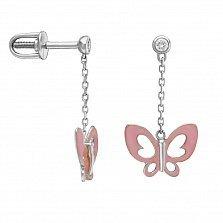 Серьги в белом золоте Розовые бабочки с эмалью и фианитами