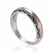 Серебряное кольцо Аманда с золотой накладкой и черной эмалью