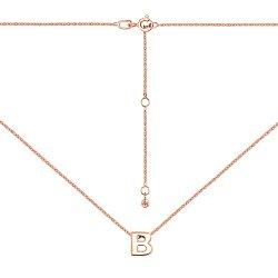 Колье из красного золота с подвеской Буква В 000137533