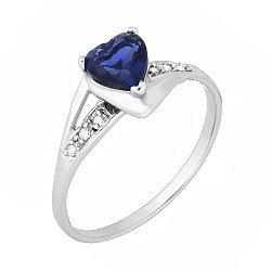 Серебряное кольцо с синим цирконием Страстная любовь