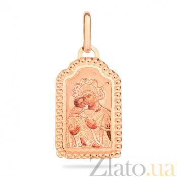 Ладанка из красного золота Богородица и маленький Иисус SUF--421541