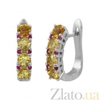 Серебряные серьги Ярина с цитрином и красными фианитами 000081964