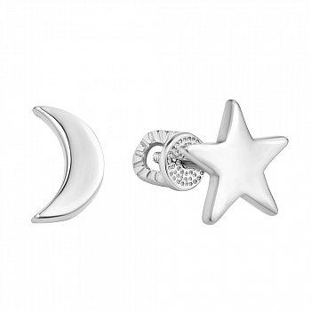 Срібні асиметричні сережки-пусети 000106903