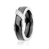 Серебряное кольцо с керамикой и фианитами Модерн
