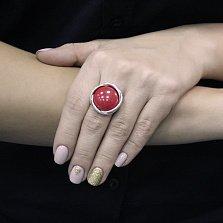 Серебряное кольцо Кровавый глаз с имитацией коралла