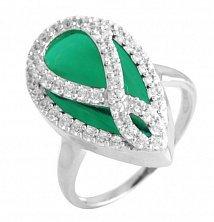 Серебряное кольцо Селестина с синтезированным изумрудом и фианитами