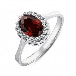 Серебряное кольцо с гранатом и фианитами 000134870