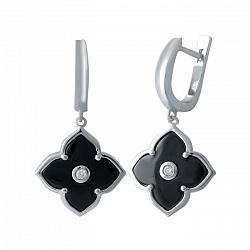 Серебряные серьги-подвески Лаконичные цветы с черной керамикой и фианитами