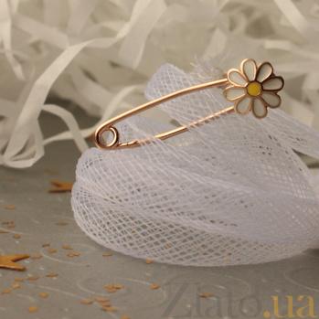 Детская золотая булавка Ромашка с бело-желтой эмалью LEL--09106