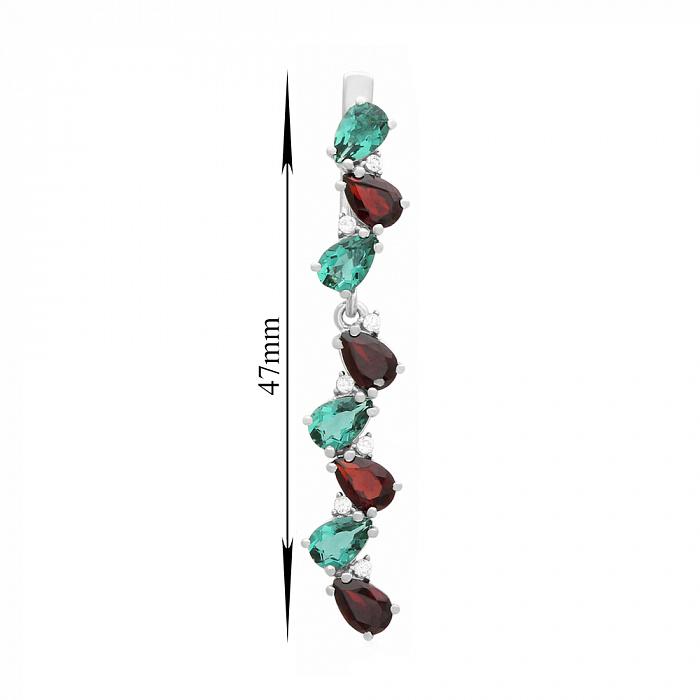 Серебряные серьги-подвески Яра с гранатом, зеленым кварцем и фианитами 000063609
