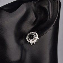 Серебряные серьги Затмение с черным и белыми фианитами, черной эмалью в стиле Булгари