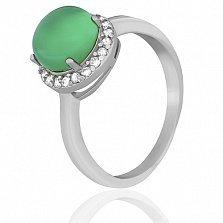 Серебряное кольцо Рашель с зеленым агатом и цирконием
