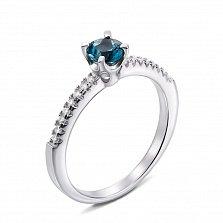 Серебряное кольцо с лондон топазом и фианитами 000132138